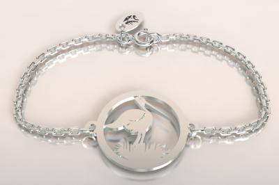Bracelet chaine argent 925/1000 cigogne dans le nid  poids 1.8gr