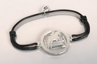 Bracelet cordon  cavalier  saut d'obstacle  argent 925/1000