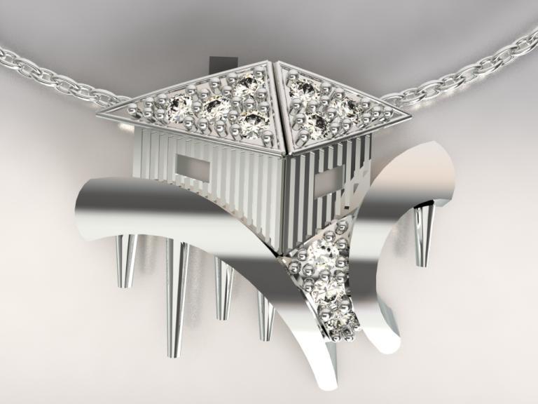 cabane tchanquées argent 925/1000  4gr et diamants 0.13ct h/si