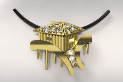 cabane tchanqué or jaune 750/1000 3gr et diamants 0.13ct  g/si