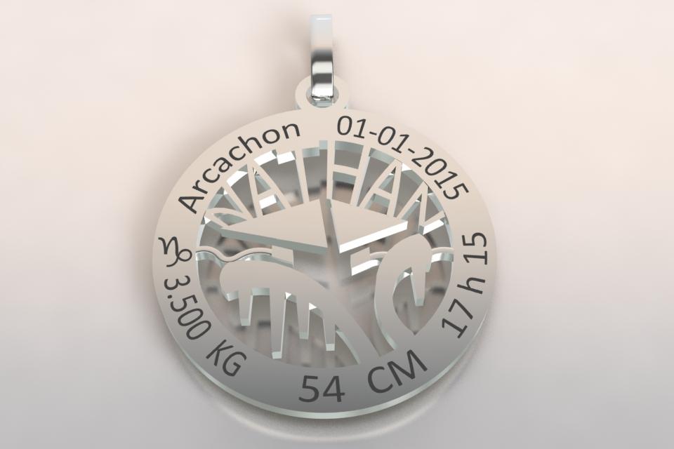 La medaille de naissance or blanc2