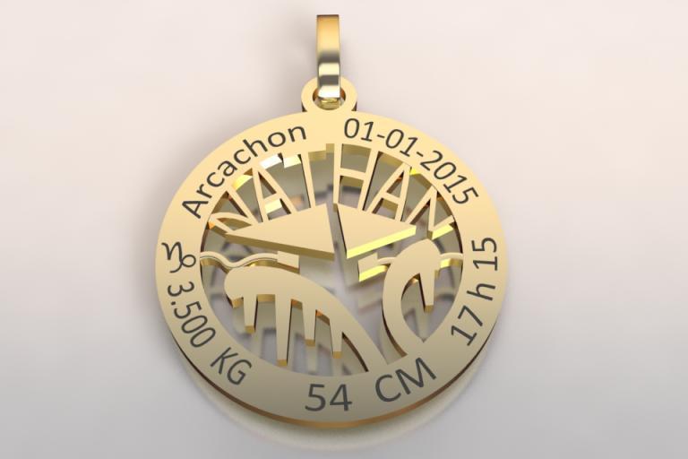 La médaille de naissance cabane du bassin d'Arcachon (or jaune 750 /1000 )