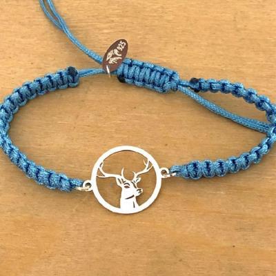 Bracelet jeton 1 Cerf Argent 925/1000 cordon marin