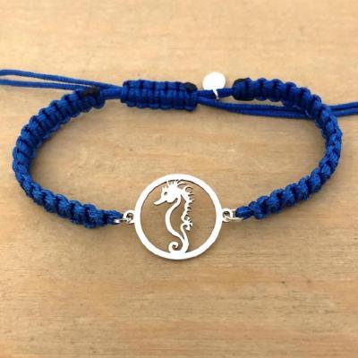 bracelet jeton 1 hippocampe argent 925/1000 cordon marin