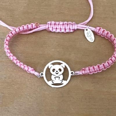 Bracelet jeton 1 Panda Argent 925/1000 cordon marin