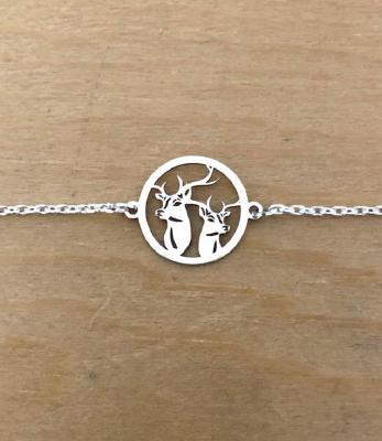 Bracelet sur chaîne Argent 925/1000 - 2 Cerfs
