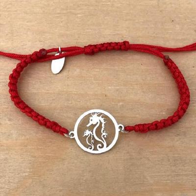 bracelet jeton 2 hippocampes argent 925/1000 cordon marin