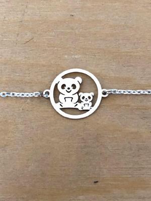 Bracelet sur chaîne Argent 925/1000 - 2 pandas