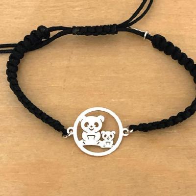 Bracelet jeton 2 Pandas Argent 925/1000 cordon marin