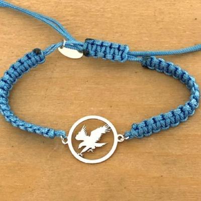 Bracelet jeton Aigle en vol Argent 925/1000 cordon marin