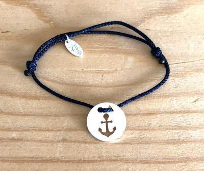 Token's - Bracelet Cordon - Ancre Marine