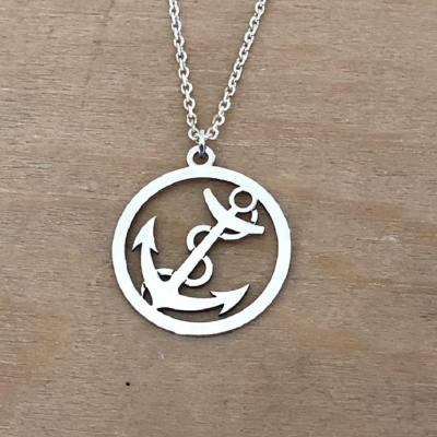 collier argent 925/1000  ancre marine