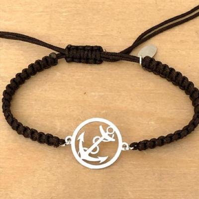 bracelet jeton Ancre Marine argent 925/1000 cordon marin