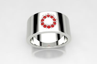 bague cercle topaze  blazing red