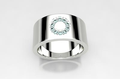 bague cercle topaze  ice blue