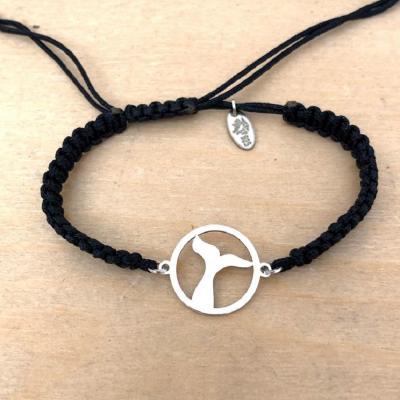 bracelet jeton Queue de Baleine argent 925/1000 cordon marin