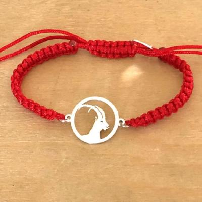 Bracelet jeton Bouquetin Argent 925/1000 cordon marin