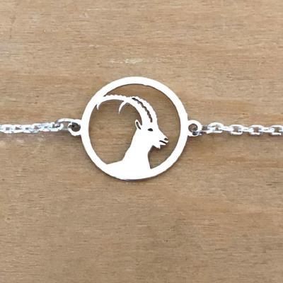 Bracelet sur chaîne Argent 925/1000 - Bouquetin