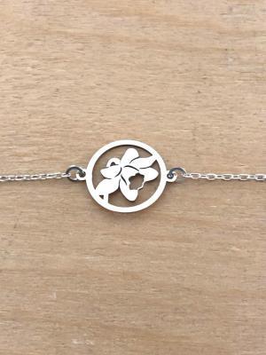 Bracelet sur chaîne Argent 925 - Jonquille tête
