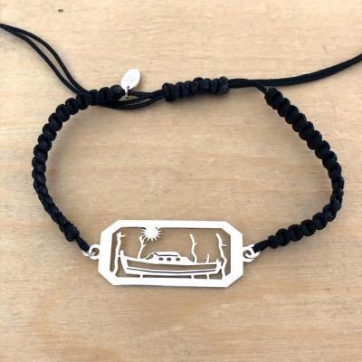 Bracelet Pinasse/Pignots rectangle Argent 925/1000 sur cordon marin