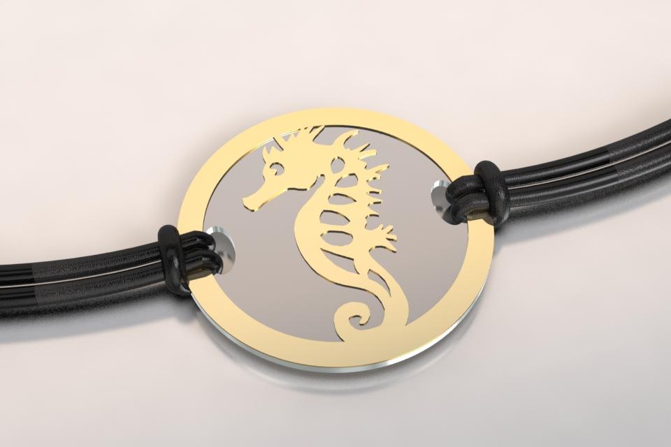 Bracelet 1 hippocampe or