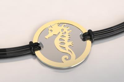 bracelet hippocampe or et acier