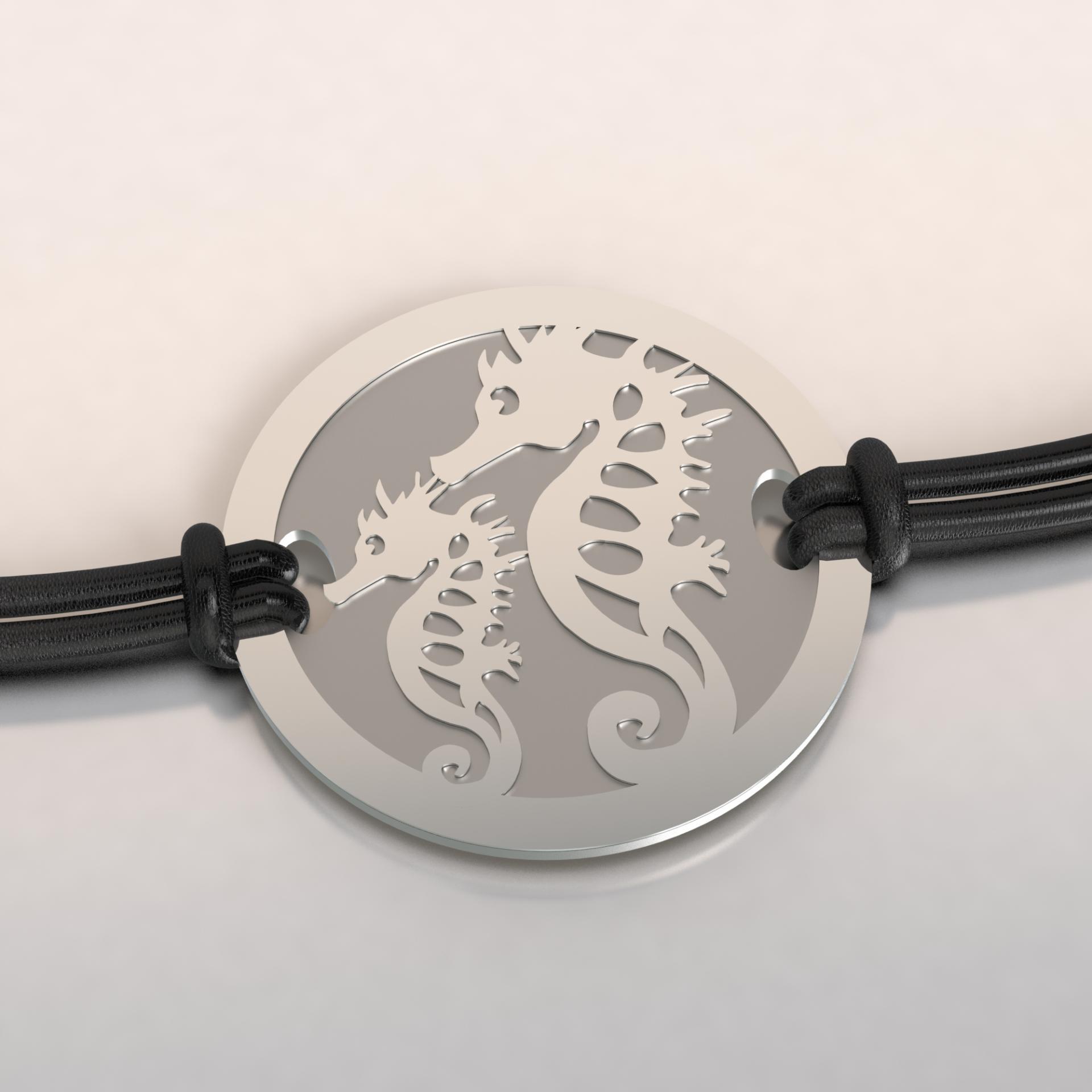 Bracelet 2 hippos argent et acier