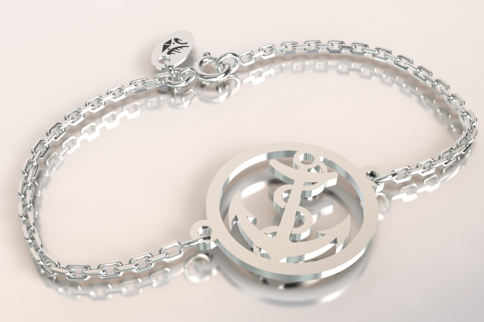 Bracelet ancre marine chaine argent