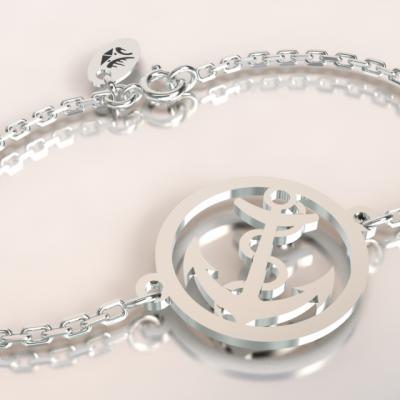 bracelet ancre marine argent 925/1000 sur chaine