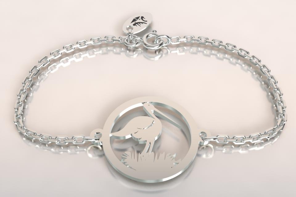 Bracelet argent chaine cigogne et nid
