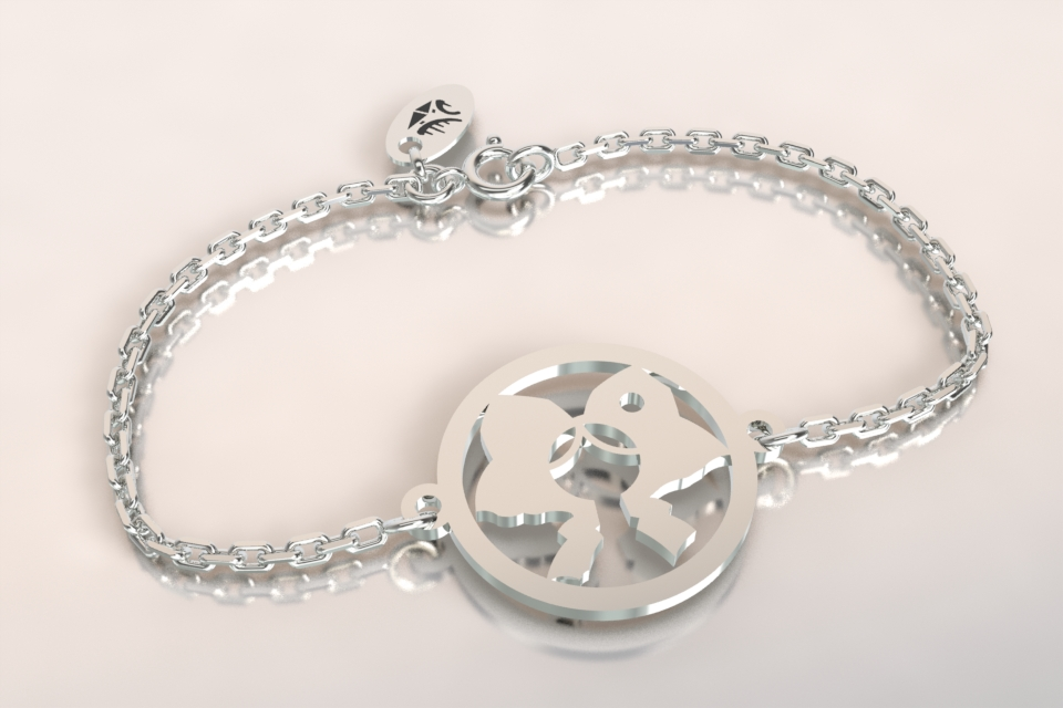 Bracelet argent chaine coiffe alsacienne
