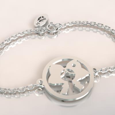 Bracelet chaine argent 925/1000  coiffe alsacienne poids 1.8gr