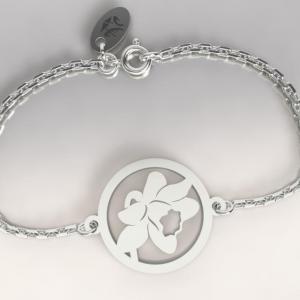 Bracelet argent chaine fleur jonquille 1
