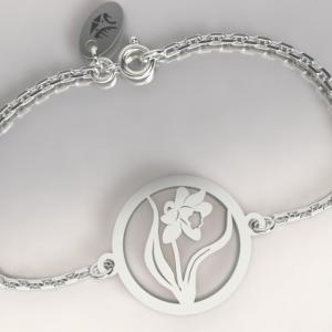 Bracelet argent chaine jonquille 1