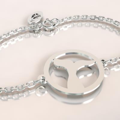 Bracelet jeton queue de baleine  découpé sur chaîne argent 925/1000