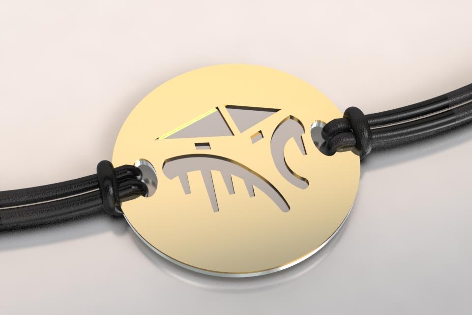 Bracelet cabane acier et or