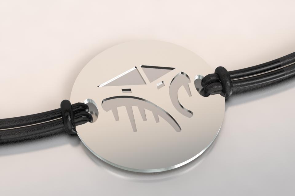 Bracelet cabane argent et acier