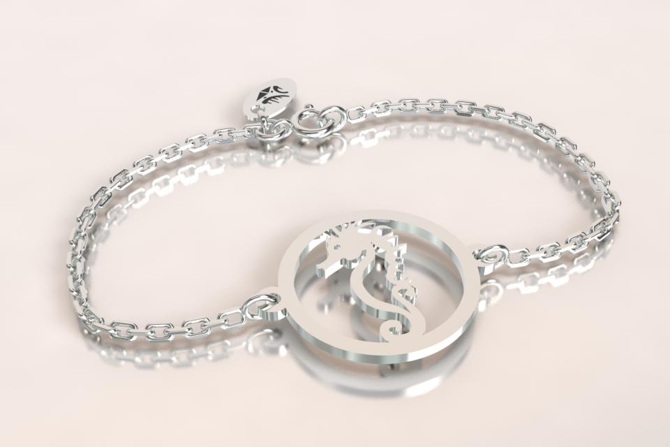 Bracelet chaine 1 hippocampe argent ajoure