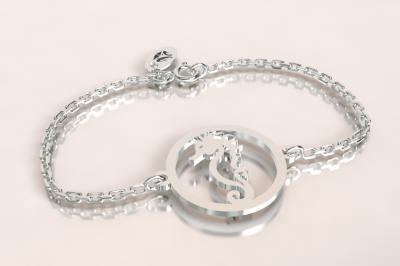 Bracelet 1 hippocampe jeton découpé  sur chaîne argent 925/1000