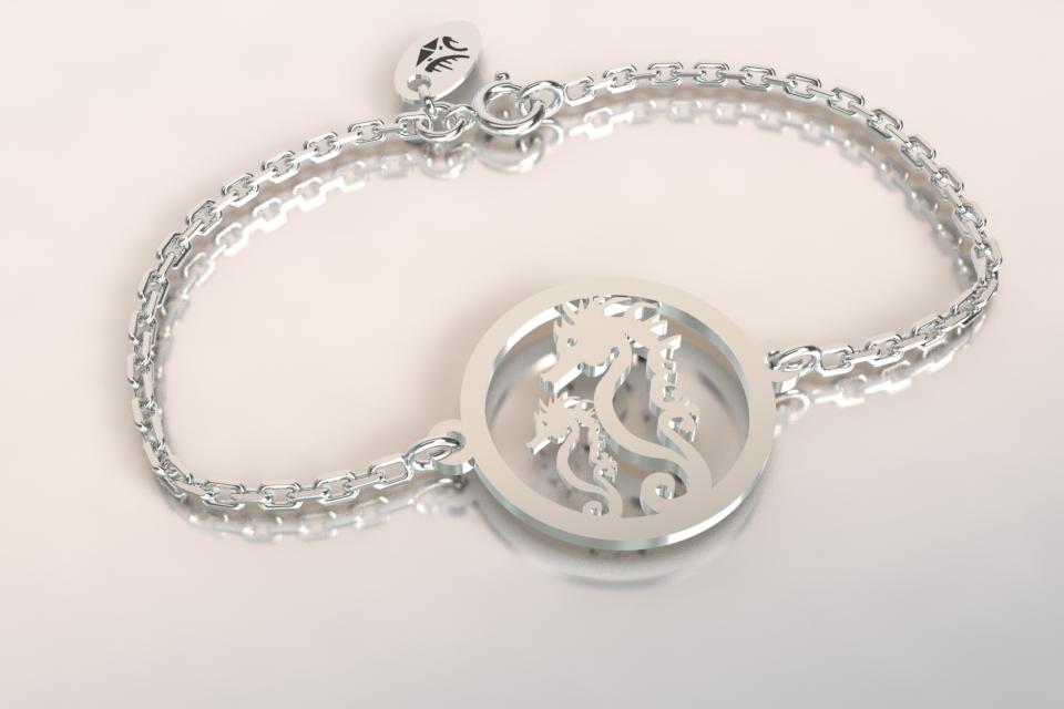 Bracelet chaine 2 hippocampes argent ajoures