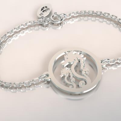 Bracelet   2 hippocampes jeton découpés sur chaîne argent 925/1000