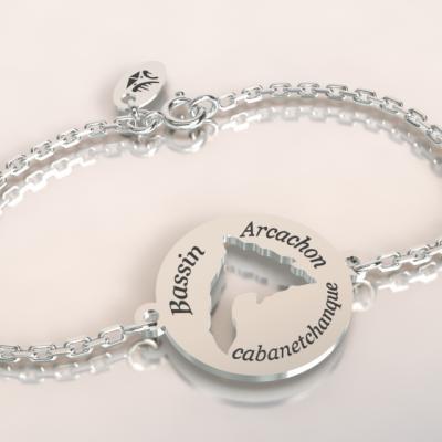 bracelet chaîne argent 925/1000 bassin d'arcachon