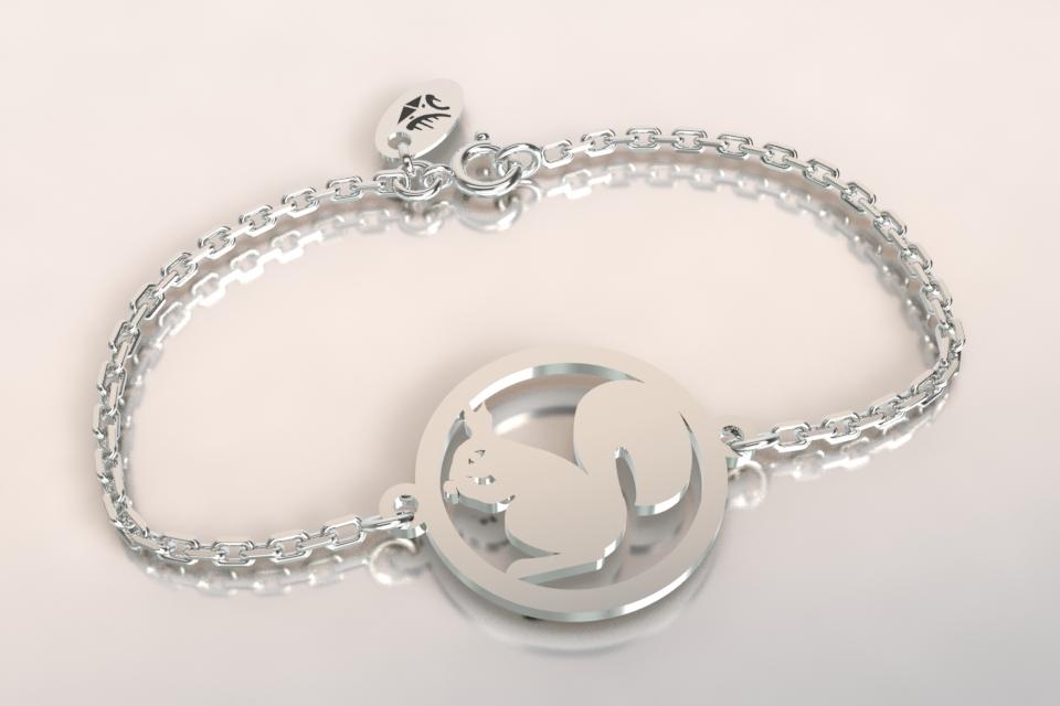 Bracelet chaine argent ecureuil copie