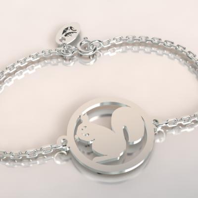 barcelet écureuil argent 925/1000 sur chaine