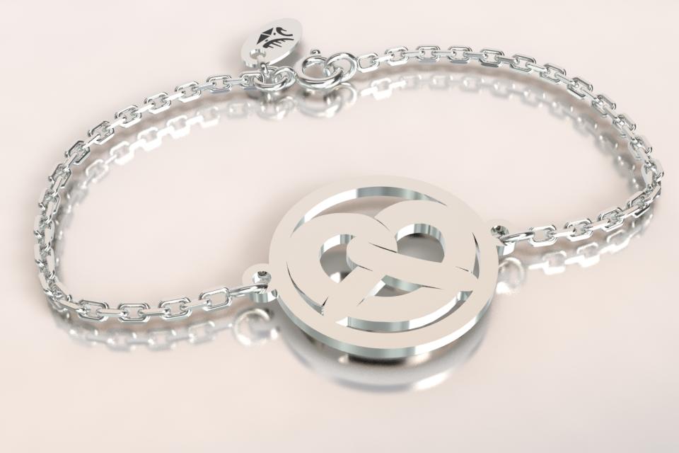 Bracelet chaine argent jeton bretzel