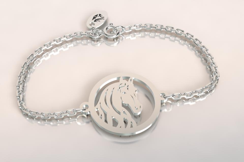 Bracelet chaine argent tete de cheval