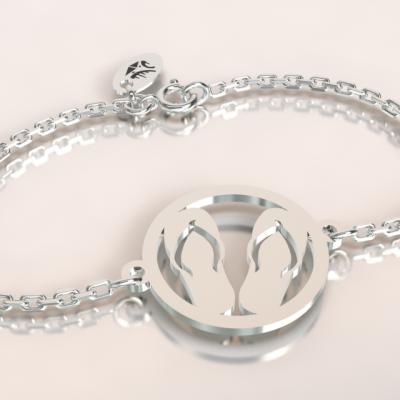 bracelet argent 925/1000 jeton motif tongue