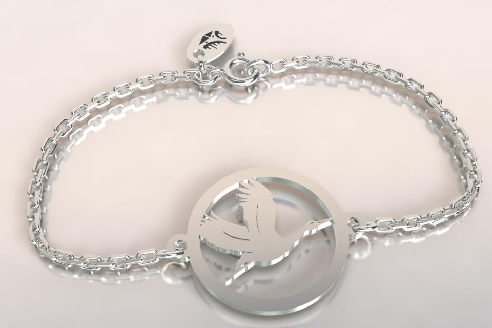 Bracelet chaine argnet cigogne en vol