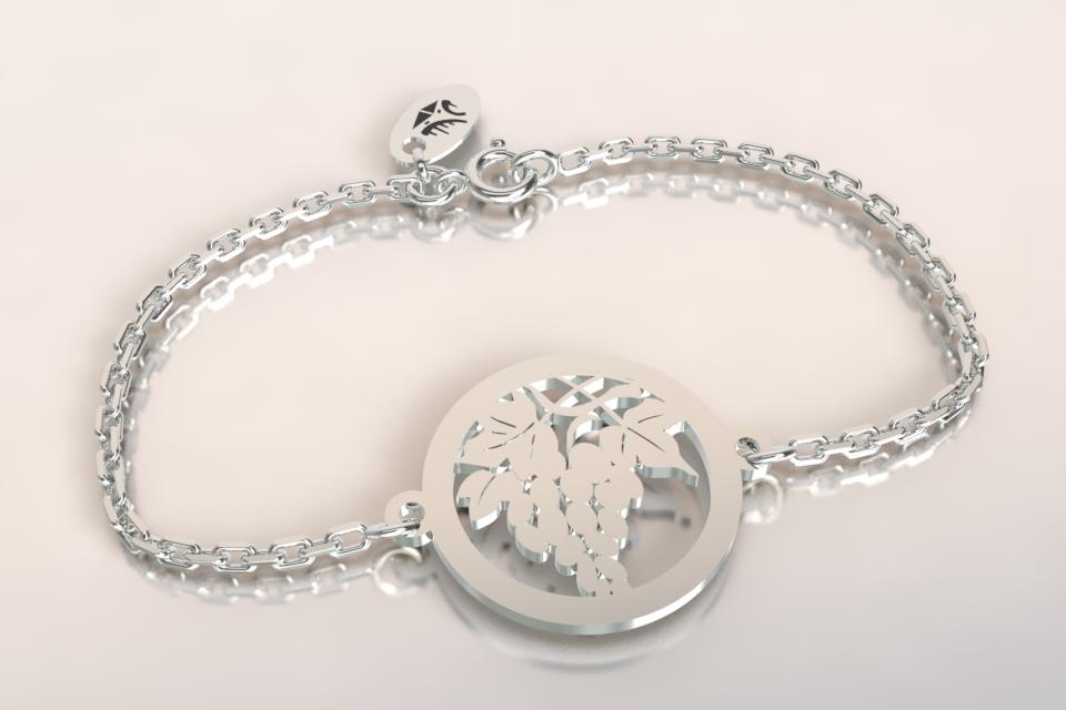 Bracelet chaine argnet feuille de vigne