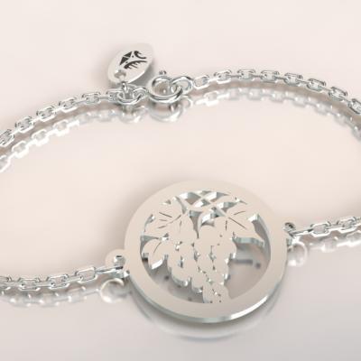 Bracelet chaine argent 925/1000 feuille de vigne et grappe  poids 1.8gr